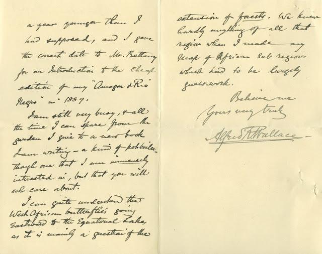 Wallace, correspondance, letter, entomologist, naturalist, archives
